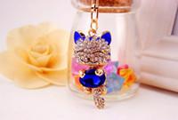 Wholesale Diamond Key Chain Crystal - Free Shipping 2017 Fashion Enamel Lucky Cat Crystal Keychain Alloy Keyring For Women Party Gift Key chains Keyfob DH025