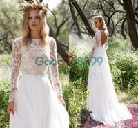 Wholesale Chiffon Long Floral Skirt - Limor Rosen 2017 Vintage Boho Wedding Dresses with Long Sleeve Backless Bateau Bohemian Country Lace Chiffon Elegant Bridal Gowns