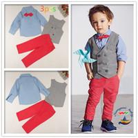 erkek çocuk düğün kıyafeti toptan satış-Erkek bebek Resmi Parti Düğün Smokin Bel Ceket Kıyafet Suit çocuk Moda Rahat 3 adet Üniformaları 2 renkler