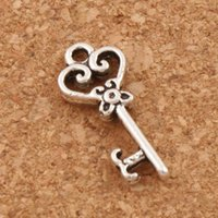 Wholesale Tibetan Key Charms - Heart Hollow Key Charm Beads 2000pcs lot Tibetan Silver Pendants Jewelry Findings Components DIY Fit Bracelets Necklace 9X21mm L879