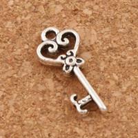 Wholesale Silver Hollow Heart Charm Bracelet - Heart Hollow Key Charm Beads 2000pcs lot Tibetan Silver Pendants Jewelry Findings Components DIY Fit Bracelets Necklace 9X21mm L879