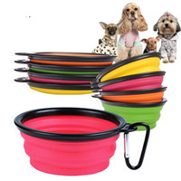 Barato Água Da Dobra Do Cão-Pet Products Silicone Bowl Pet Folding Portable Dog Bowls Atacado para alimentos The Dog Drinking Water Bowl Pet Bowls