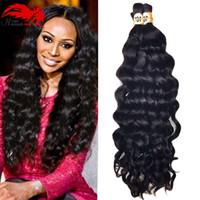 12 inçlik saç tokası toptan satış-Sıcak Satış Hannah ürün 3 demetleri 150g Derin Kıvırcık Brezilyalı Toplu İnsan Saç Örgü Işlenmemiş Insan Örgü Saç Için Toplu Hiçbir Atkı