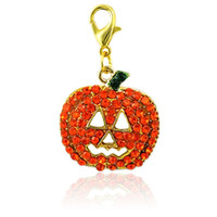 Wholesale Orange Rhinestone Charm - Halloween Lobster Clasp Charm Dangle Orange Yellow Rhinestone Pumpkin Mask Pendants DIY Charms For Jewelry Making Accessories