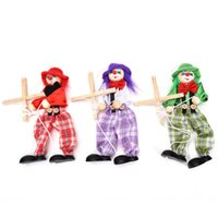 Wholesale Wooden Toy Joints - Wholesale-Vintage Colorful Funny Handcraft Toy Pull String Puppet Clown Wooden Marionette Toy Joint Activity Doll Kid Children Gift Craft