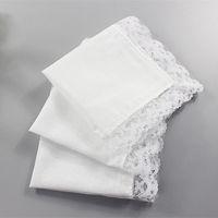servilleta blanca al por mayor-Regalos de boda fino pañuelo mujer blanca de encaje decoración del partido servilletas de tela en blanco llana Pañuelo DIY 25 * 25 cm