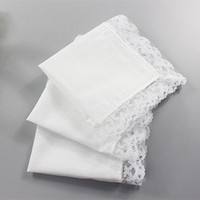 Wholesale Napkin White Wedding - White Lace Thin Handkerchief Woman Wedding Gifts Party Decoration Cloth Napkins Plain Blank DIY Handkerchief 25*25cm