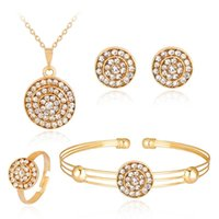 Barato Colar Redondo De Casamento De Cristal-Diamante Crystal Round Necklace Earrings Pulseira ajustável Braceletes Crystal Gold Plated Jewelry Set for Women Wedding Jewelry Gift