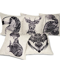 Wholesale Parrot Cushions Covers - Creative Totem Animals Pillow Cover Hand Drawn Style Deer Elk Fox Bird Parrot Peacock Cushion Covers Sofa Throw Decorative Linen Pillow Case