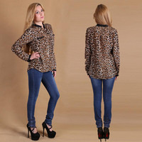 Wholesale Ladies Sexy Apparel - Hot Sale Fashion Blouses Shirts Women Wild Leopard print lady sexy Long-sleeve top Tees shirt loose plus size V neck leopard blouse Apparel