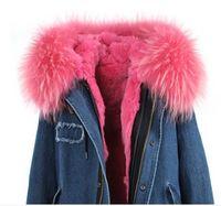 Wholesale Raccon Fur Collar - 18 styles women outwear with genuine raccon fur collar real rabbit fur inside loose hooded parka