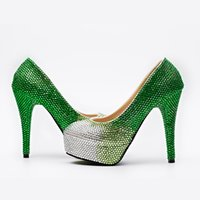 Wholesale Kitten Heel Evening Shoes Silver - Silver Green Ombre Cinderella Shoes Hand-made Prom Evening High Heels Sexy Night Club Heels Bridesmaid Wedding Shoes 5 8 11 14cm Style 001