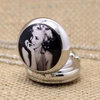 Wholesale Marilyn Monroe Pocket Watch - Wholesale-New Style Marilyn Monroe Enamel Vintage Jewelry Fashion Small Size Cute Number Silver Color Beauty Girl Quartz Pocket Watch