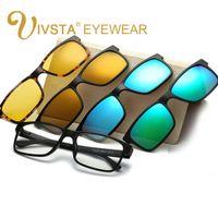 Wholesale Prescription Polarized Lenses - Wholesale-IVSTA Include Frame Polarized Clip On Sunglasses Men TR90 Custom prescription lenses Magnetic clips night glasses drive Magnet