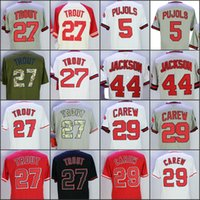 Wholesale Rod Drying - 27 Mike Trout 5 Albert Pujols 29 Rod Carew 44 Reggie Jackson White Grey Red 1985 Throwback Jerseys Home Away Road Jersey stitched
