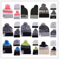 Wholesale Models Sports Hats - Wholesale Newest American Football 32 team Oakland Beanies Sports Beanie Winter Knit Cuff Beanies Hats Accept Mix Order Thousands of Models