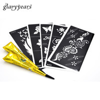 Wholesale wholesale cone pieces - Wholesale- 5 Pieces Medium Henna Stencil + 2 Pieces Black Henna Paste Cone Beauty Women Body Arm Makeup Art Paint Tattoo Stencil Waterproof