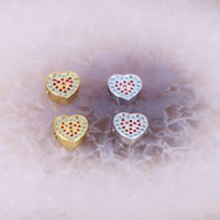 10Pcs 9 * 10mm Heart Shape Micro Pave Cz Blue Stone Connector Bead Spacer Metal Beads Fit DIY Bracelet Jewelry