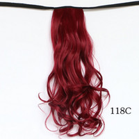 Wholesale Ponytails Red Long - Wholesale- 2016 New Red Ponytail Extension 50cm Wavy Pony Tails Curly Hairpieces of Long Natural Hair Claw For Women Tail Hair Artificial