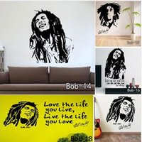 Wholesale Bob Marley Quote Vinyl - Bob Marley Sticker Bob Wall Stickers Removable Vinyl Quotes Decals Figure  Character Decals Home Decoration Free Shipping