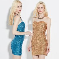 Wholesale Elastic Belts For Dresses - Dresses for Womens Fashion Sexy Sequins Elastic Condole Belt of Cultivate One's Morality Dress Backless Mini Short Evening Dress