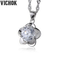 Wholesale 925 Silver Plum Blossom - 925 Sterling Silver Pendant&Necklace Plum Blossomed Flowers-shaped 7.5mm Necklace For Women Lover Fine Jewelry White Purple Colors VICHOK
