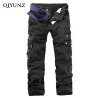 Wholesale Men S Work Pants - Wholesale- Black Dark Gray Army Green Multi-pockets Loose Straight Work Pants Men's Long Trousers