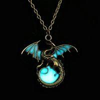 Wholesale Diamond Necklace Mens - Retro Dragon Glow in the Dark necklace Pendant Silver Chain Jewelry Bright Dragon Pendants & Necklaces Mens Punk Dragon Necklace