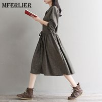 Wholesale Retro Shirt Dress - Mori Girl Autumn Winter Shirt Dress Peter Pan Collar Single Breasted Retro Dress Femme Long Sleeve Artsy Dress