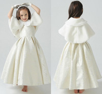 Wholesale girls white fur cape - Soft Warm Winter Faux Fur Jackets For Childen Lovely Little Girls Capes Cloak With Collar Bow White Flower Girls Shrugs Wraps In Stock