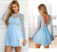 Wholesale Lace Skater Dresses - Light Blue Long Sleeve Crochet Tulle Skater Cocktail Dresses Cute Lace Bateau A-line Prom Dress Short Party Occasion Gowns Backless 2017