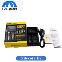 Wholesale e cigarettes battery display - 100% Original Nitecore D2 Charger Universal Intellicharger LCD Display E Cigarettes Charger for 18650 18350 18500 14500 Li-on Battery