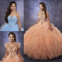 Abiti blu chiaro Quinceanera 2017 Mary's con Sheer Bolero e Beaded Basque Waistline Ruffles Peach Tulle Masquerade Ball Gowns Lace Up