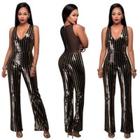 Wholesale Cute Women Jumpsuits - 2017 New Fashion sequins sleeveless V-neck Print Bodycon Jumpsuit Sexy Women Elegant Rompers Cute Overall Vestidos