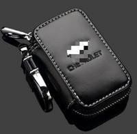 botón remoto de alarmas al por mayor-Genuine Chevrolet Key Case Cuero Premium Car Key Chain Holder cremallera cartera remota para Chevrolet accesorios de la cubierta clave bolso remoto