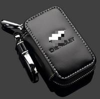 premium echtleder tasche großhandel-Original Chevrolet Key Case Premium Leder Auto Schlüsselanhänger Halter Reißverschluss Remote Wallet für Chevrolet Schlüssel Abdeckung Zubehör Remote Bag