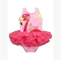 Wholesale Kids Tiered Skirts Wholesale - Girls flamingos siamese swimsuit children tiered tulle skirt princess swimwear Big girls letter swimwear kids spa beach Bathing Suit T2631