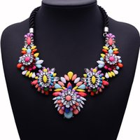Wholesale Rainbow Chunky Necklace - Fashion Brand Rainbow Crystal Chokers Flower Statement Necklace Women Rope Chain Necklace Chunky Necklace Pendant Jewelry Bijoux 2017