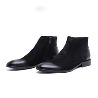 Wholesale Mens Dress Winter Boots - 2017 Brand Winter Luxury Fashion Mens Ankle Boots Genuine Leather Black Brown Men Shoes For Wedding Business 2017