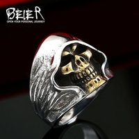 Wholesale Good Fashion Stores - Beier new store 316L Stainless Steel ring top quality good detail the death skull vintage ring for man fashion Jewelry BR8-156