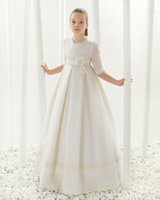 Wholesale Hot Holy Dress - Hot Sale Flower Girl Dress half sleeves first communion dresses for girls lace girls ball gowns cheap holy communion dresses