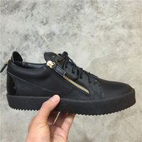 Wholesale Fashoin Shoes - New Fashoin black Leather With Double Gold Zipper Mens and Womens Shoes,Zanottys Low Top Thick Soles Casual Sneakers