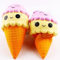 Wholesale Ice Cream Cone Toy - 10pcs lot 23cm Super Cute Face Ice Cream Cone Squishy Scented Slow Rising Soft ice Cream Phone Strap Kid Toys Gift Bread Fun
