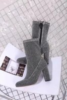 Wholesale Silver Glitter Chunky High Heels - luxury designer women Boots glitter stretch boots ankle Sexy high-heeled Boots high 9.5 cm fashion elasticity woman boot Size 35-39 Silver