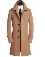 ingrosso inverno in lana di mens invernale-Cappotto da uomo in lana nera manica lunga casual da uomo 2017 giacche e cappotti da uomo in lana doppiopetto soprabito invernale