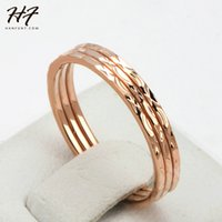 Wholesale Gold Three Finger Ring - Concise Three Rounds Finger Rings Rose Gold Plated Fashion Brand Ring Jewellery Jewelry For Women Wholesale R164