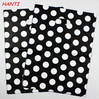 Wholesale Clothing Gift Packaging - Wholesale-Free shipping 100pcs 30x40cm White Round Dots Black Gift Bag Shopping Bags Plastic Hand Bags Suitable For Clothing Packaging