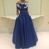Wholesale Twin Set Dresses - New Satin Twin Sets A-Line Evening Dresses Appliques Off The Shoulder vestidos de noiva Boat Neck Sweep Train Prom Gowns