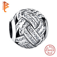 Wholesale Sterling Silver Knot - BELAWANG Authentic European 925 Sterling Silver CZ Charms Knot Weave Beads Fit Pandora Charm Bracelet&Bangle DIY Making Jewelry Accessories