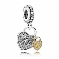 Wholesale Metal Charms Pendant Heart Lock - Authentic 925 Sterling Silver Bead Charm Gold Love Heart Lock With Crystal Pendant Bead Fit Pandora Bracelet DIY Jewelry HKA3583